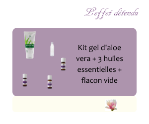 Kit 3 gel aloe vera + Tea tree, Ravintsara, Eucalyptus radiata + 1flacon vide